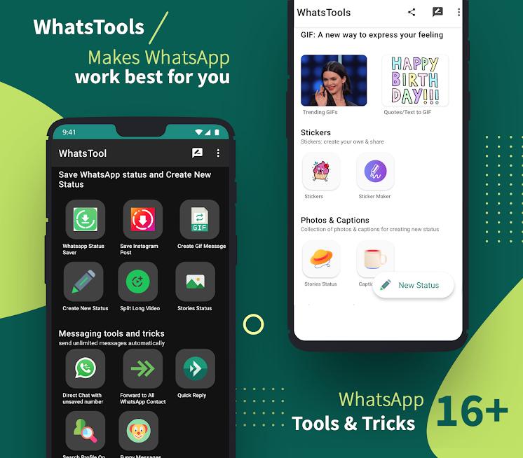 دانلود WhatsTools for WA Status Saver 2.1.2 – ابزار مسنجر واتساپ اندروید