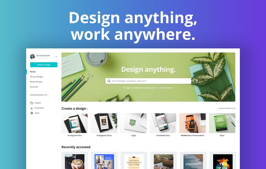 دانلود 2.109.0 Canva Graphic Design Video Invite & Logo Maker - برنامه طراحی گرافیک اندروید